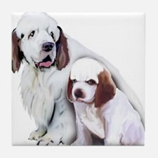 Clumber Mom and Pup Tile Coaster