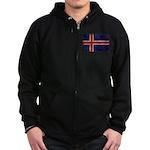 Iceland Flag Zip Hoodie (dark)