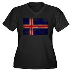 Iceland Flag Women's Plus Size V-Neck Dark T-Shirt