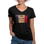Iowa Flag Women's V-Neck Dark T-Shirt