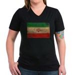 Iran Flag Women's V-Neck Dark T-Shirt