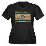 Israel Flag Women's Plus Size V-Neck Dark T-Shirt