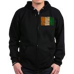 Ivory Coast Flag Zip Hoodie (dark)