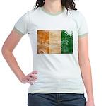 Ivory Coast Flag Jr. Ringer T-Shirt