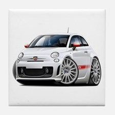 Abarth White Car Tile Coaster