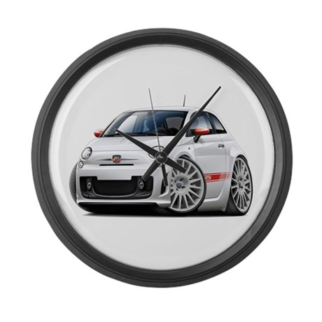 Abarth White Car Large Wall Clock By Madddoggsimportcars