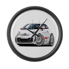 Abarth White Car Large Wall Clock