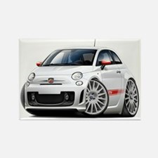 Abarth White Car Rectangle Magnet