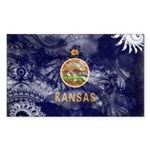Kansas Flag Sticker (Rectangle 10 pk)