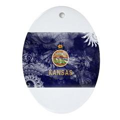 Kansas Flag Ornament (Oval)