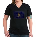 Kansas Flag Women's V-Neck Dark T-Shirt