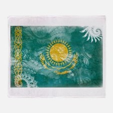 Kazakhstan Flag Throw Blanket