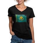 Kazakhstan Flag Women's V-Neck Dark T-Shirt