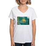 Kazakhstan Flag Women's V-Neck T-Shirt