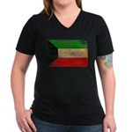 Kuwait Flag Women's V-Neck Dark T-Shirt