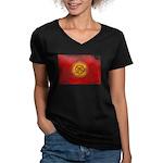 Kyrgyzstan Flag Women's V-Neck Dark T-Shirt