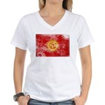 Kyrgyzstan Flag Women's V-Neck T-Shirt