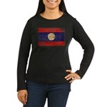 Laos Flag Women's Long Sleeve Dark T-Shirt