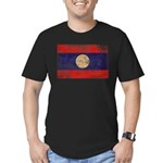Laos Flag Men's Fitted T-Shirt (dark)
