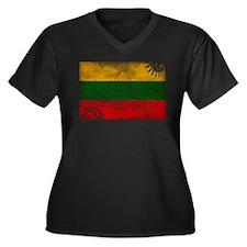 Lithuania Flag Women's Plus Size V-Neck Dark T-Shi