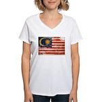 Malaysia Flag Women's V-Neck T-Shirt
