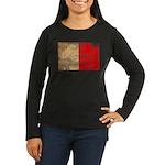 Malta Flag Women's Long Sleeve Dark T-Shirt