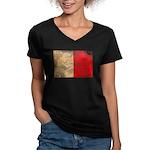 Malta Flag Women's V-Neck Dark T-Shirt