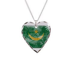 Mauritania Flag Necklace Heart Charm