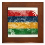 Mauritius Flag Framed Tile