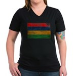 Mauritius Flag Women's V-Neck Dark T-Shirt