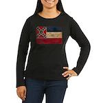 Mississippi Flag Women's Long Sleeve Dark T-Shirt