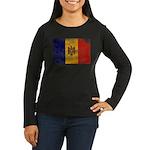 Moldova Flag Women's Long Sleeve Dark T-Shirt