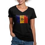 Moldova Flag Women's V-Neck Dark T-Shirt