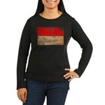 Monaco Flag Women's Long Sleeve Dark T-Shirt