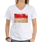 Monaco Flag Women's V-Neck T-Shirt