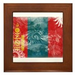 Mongolia Flag Framed Tile