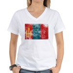 Mongolia Flag Women's V-Neck T-Shirt
