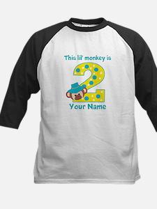 2nd Birthday Monkey Boy Kids Baseball Jersey