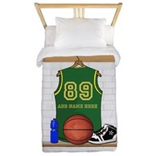 Personalized Basketball Green Twin Duvet