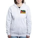 Mozambique Flag Women's Zip Hoodie
