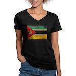 Mozambique Flag Women's V-Neck Dark T-Shirt