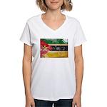 Mozambique Flag Women's V-Neck T-Shirt