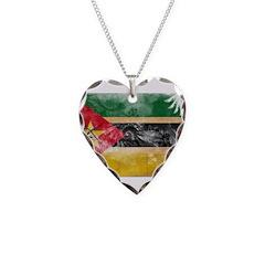 Mozambique Flag Necklace Heart Charm