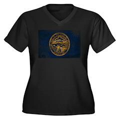 Nebraska Flag Women's Plus Size V-Neck Dark T-Shir