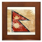 Nepal Flag Framed Tile