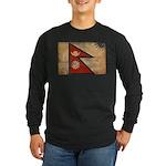 Nepal Flag Long Sleeve Dark T-Shirt