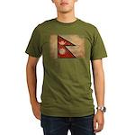 Nepal Flag Organic Men's T-Shirt (dark)