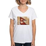 Nepal Flag Women's V-Neck T-Shirt
