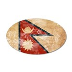 Nepal Flag 38.5 x 24.5 Oval Wall Peel