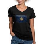 New York Flag Women's V-Neck Dark T-Shirt